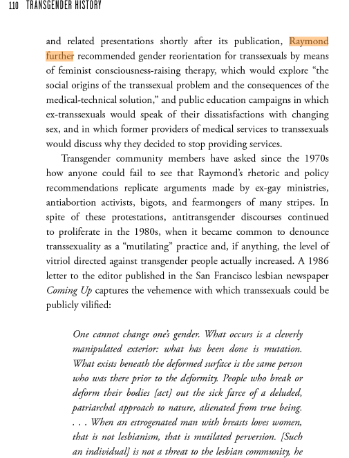 A page from Trans History by Susan Stryker