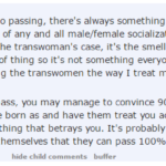 #TERFLogic: TERF's nose makes her treat random men like they're women and random women like they're men