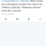"#TERFLogic: Male is a ""biological concept"" that can't be defined, but also is"